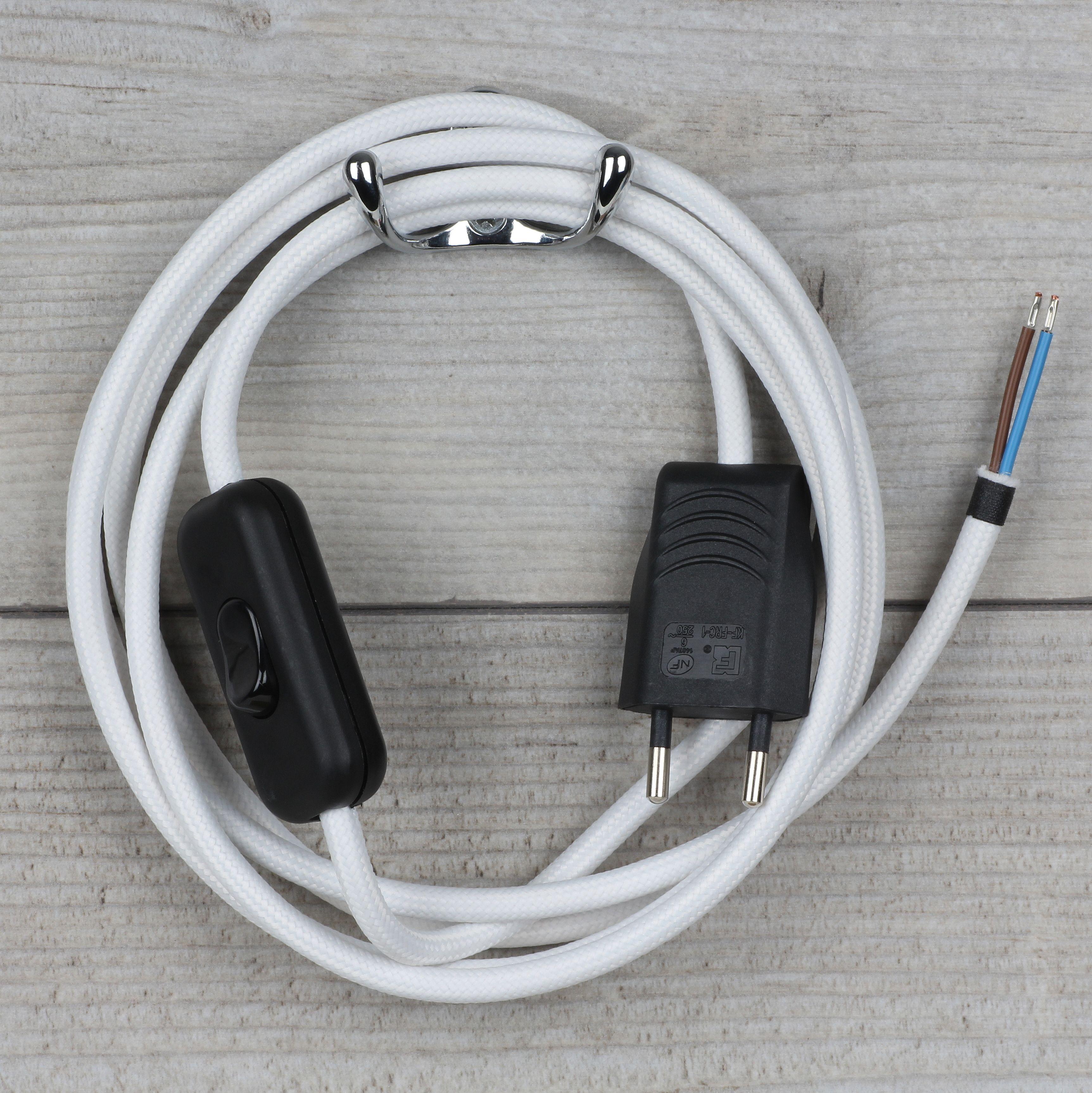Textilkabel Anschlussleitung Weiss Mit Schalter Und Stecker 21 40 Textilkabel Kabel Stecker