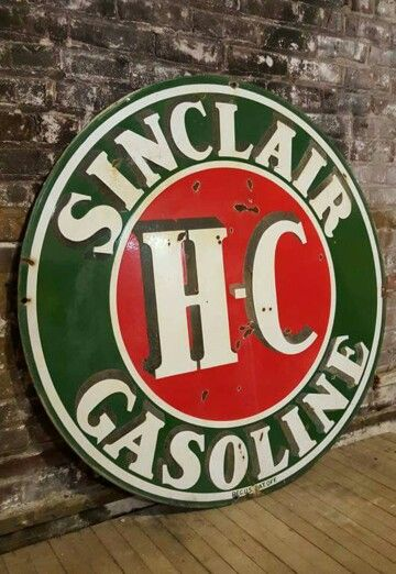 Porcelain Sinclair Hc Gasoline Sign Old Gas Stations