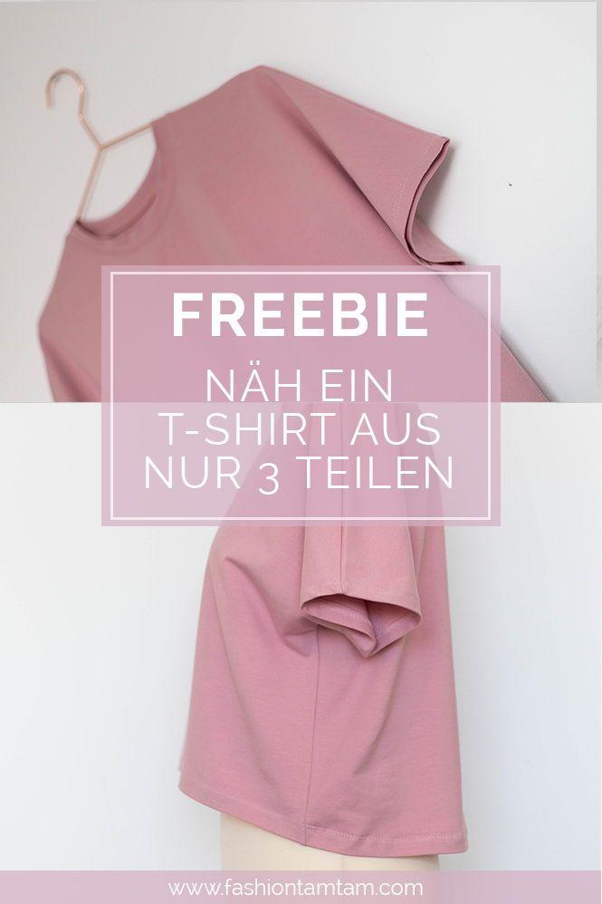 Einfaches T-Shirt nähen - Schnittmuster kostenlos #tutorielsdecouture