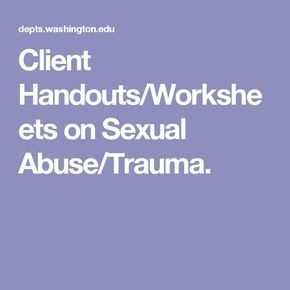 Sexual trauma worksheets