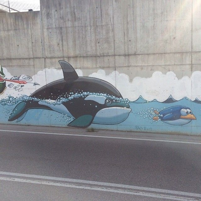 #Murales #Writer #Streetart #Orca #pinguino #penguin #muro #mural #muralismo #graffiti #graffito #writers #graffitismo #writing #GraffitiDesign #Melzo