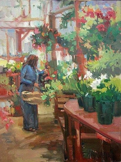 Garden Plans, Mary Maxam, oil painting, garden art, floral,