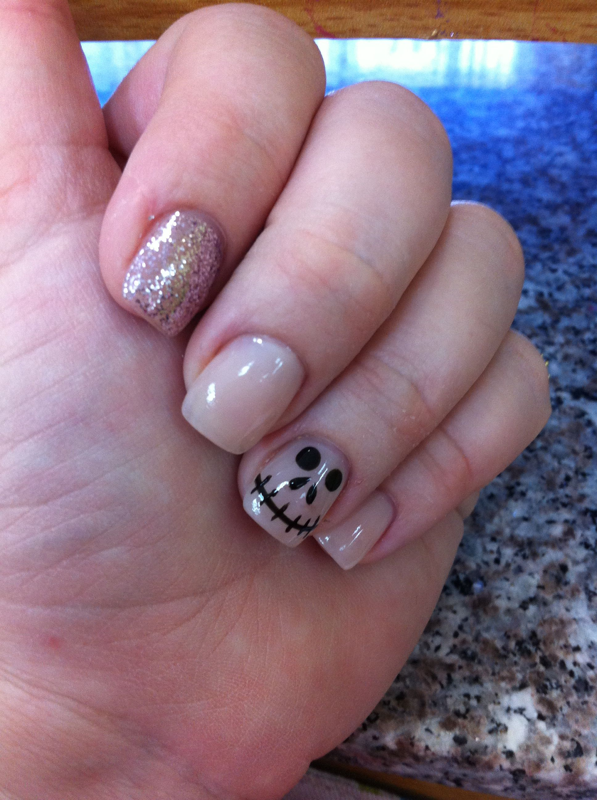 Halloween nude nail art!