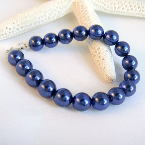 Vintage Glass Pearl Bracelet in Sodalite Blue by TraceDesigns, $33.00