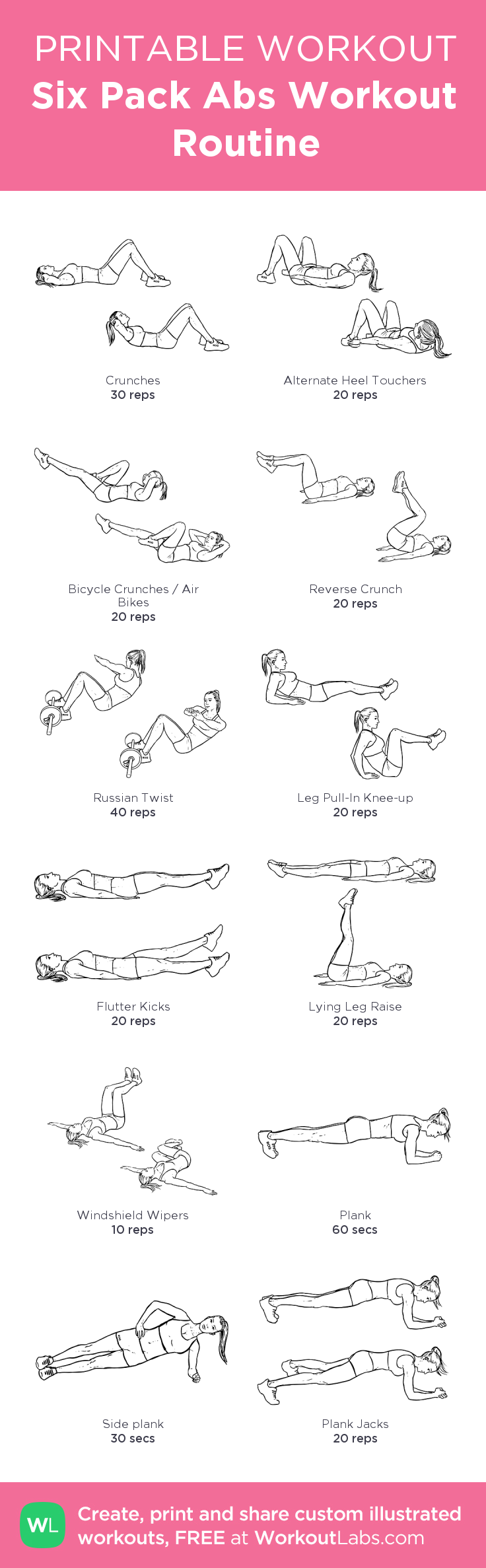 Six Pack Abs Workout Routine: my custom printable workout by @WorkoutLabs #workoutlabs #customworkout