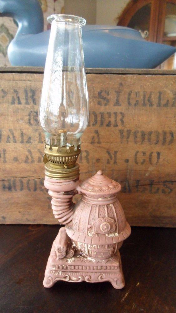Vintage 1960 S Mini Pot Belly Stove Ceramic Oil Lamp W Beaded Top Chimney Antique Kerosene Lamps Oil Lamps Beaded Top Antique Stove