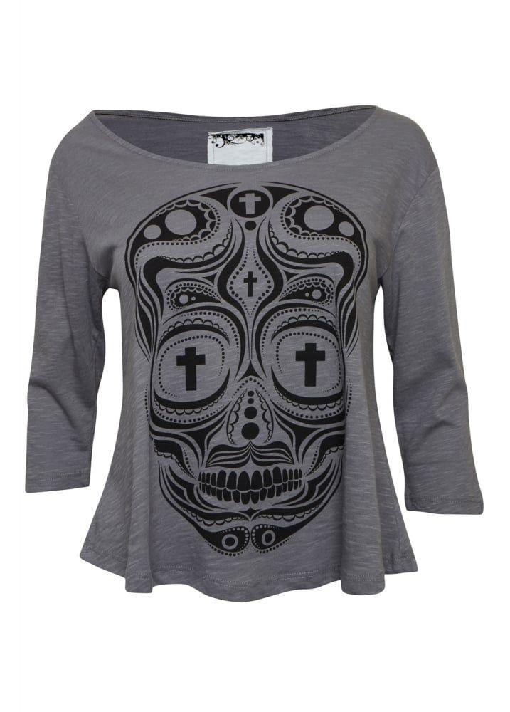 inverted cross sugar skull raglan attitude clothing art