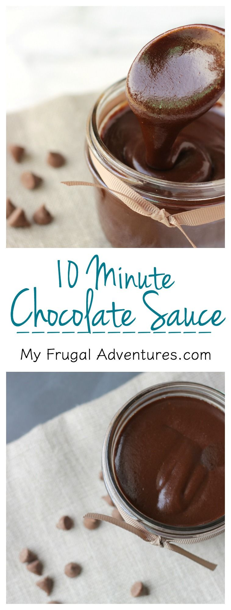 10 Minute Homemade Chocolate Sauce- this is so rich and creamy and chocolately- heaven in a little jar.  Perfect for drizzling over fruit, in milk or topping ice cream and cakes.
