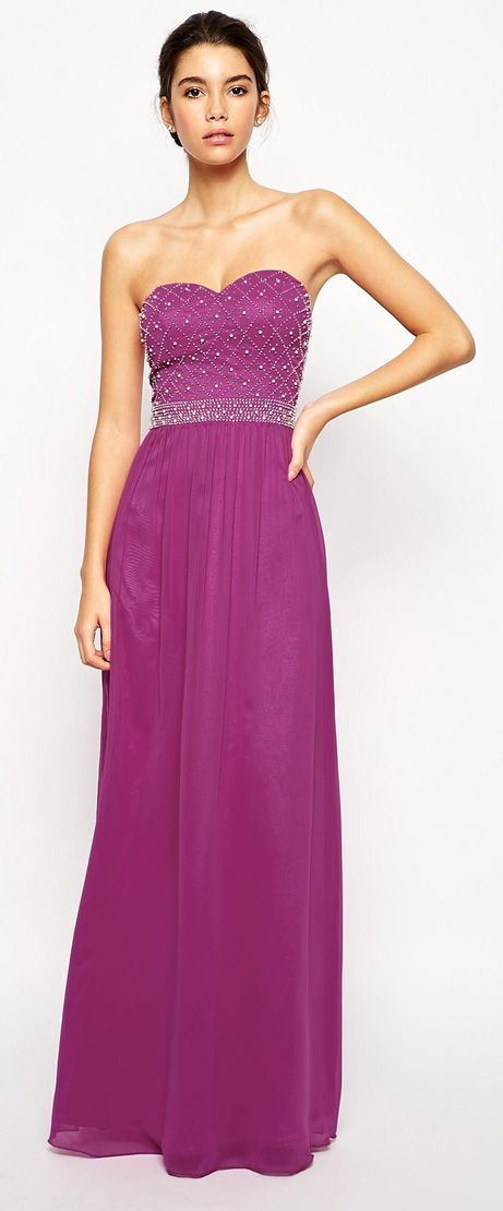 Chi Chi London Bandeau Maxi Dress with Beaded Bodice | from regular ...