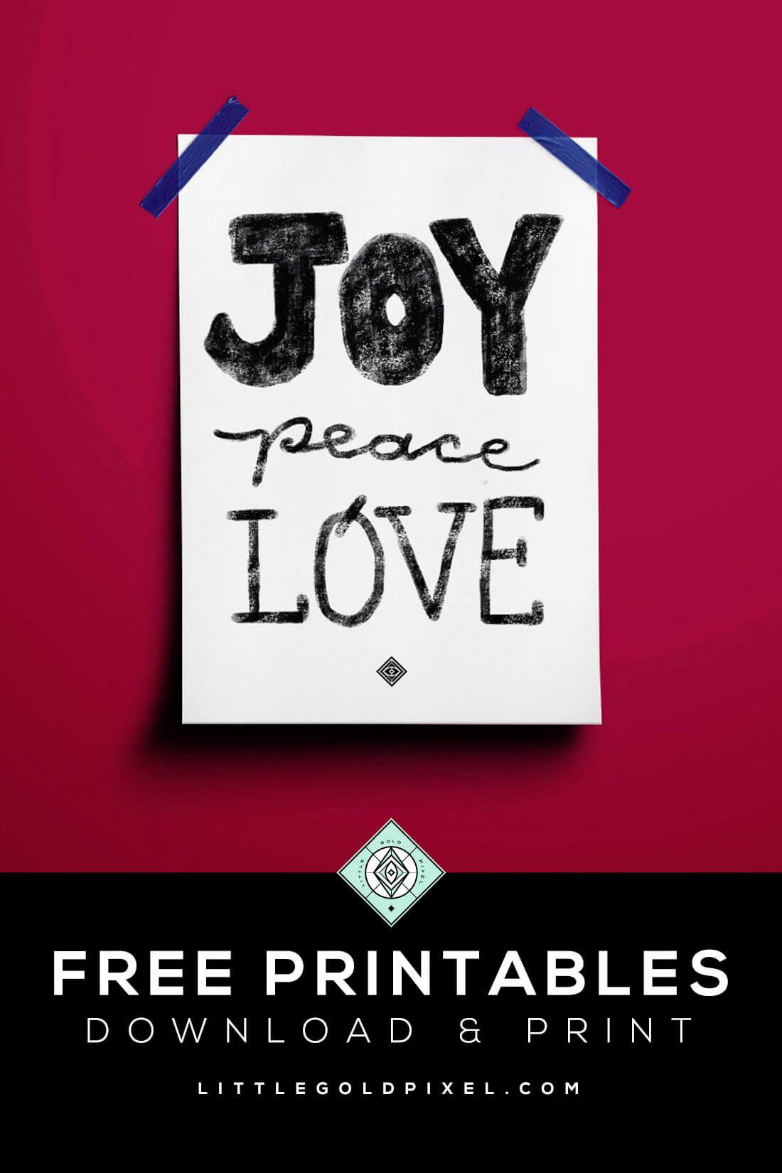 Joy Peace Love Holiday Free Printable Free christmas