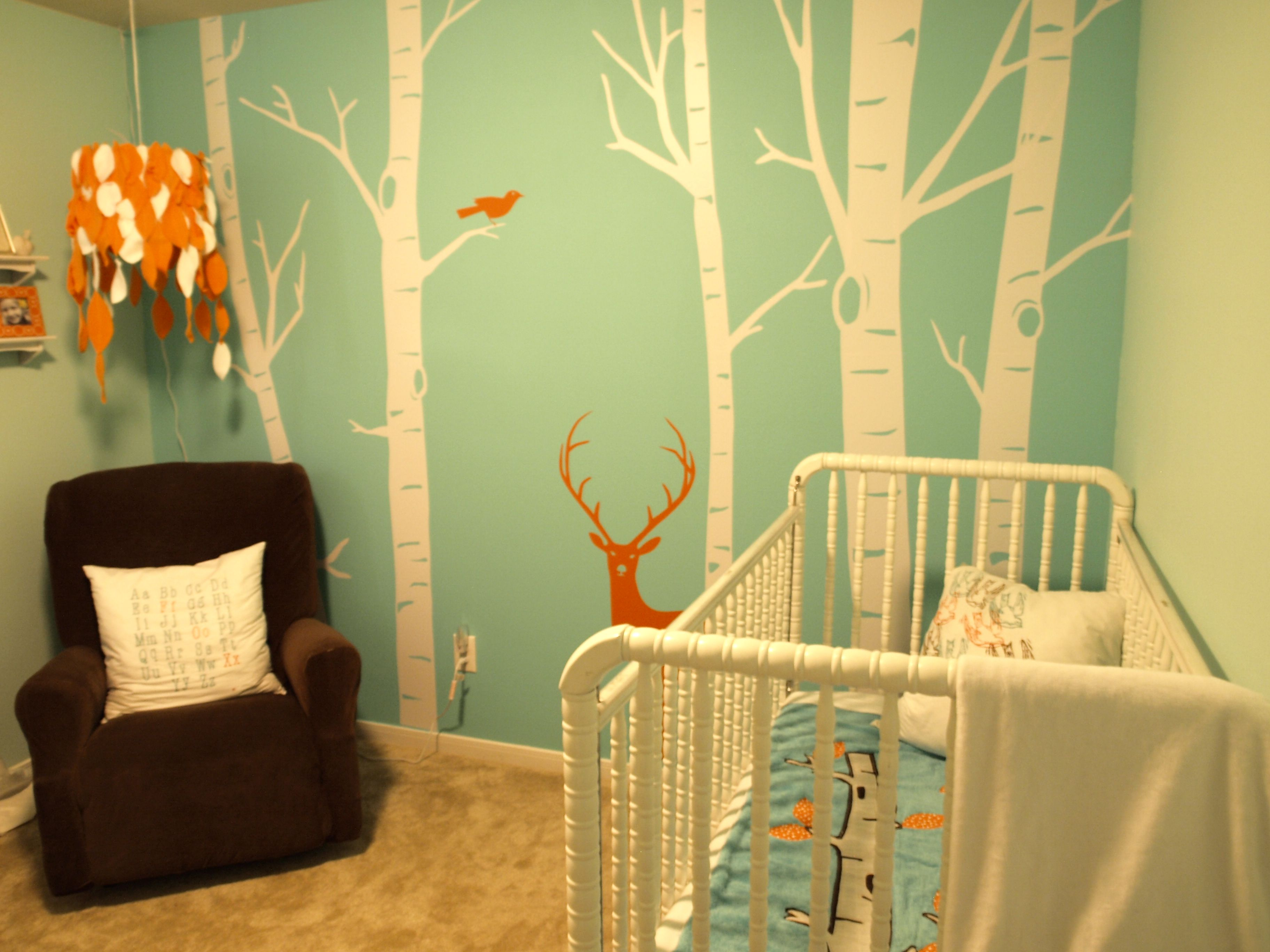 I love the wall color, decals and the funky hanging lamp! | baby ...