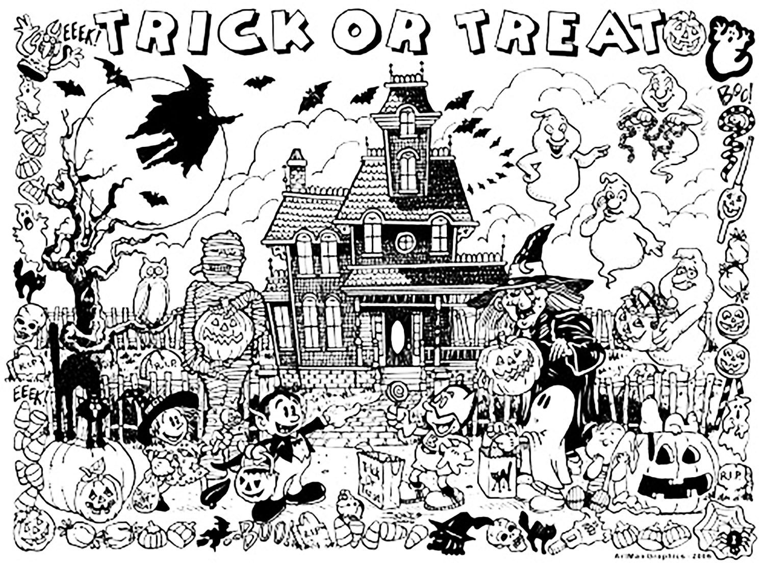 The Haunted house : Trick | coloring pages | Pinterest | Colorear y ...