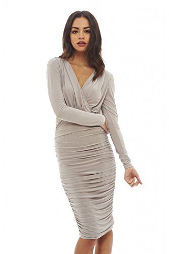AX Paris Womens V Front Slinky Midi DressGrey Size12 *** You can get more details by clicking on the image.(This is an Amazon affiliate link)