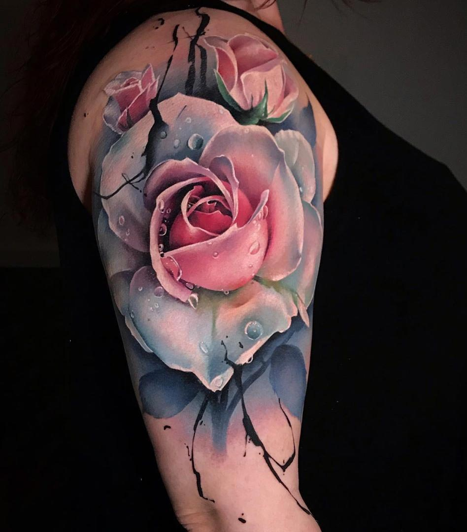 Pretty Pink & White Rose | Best tattoo design ideas