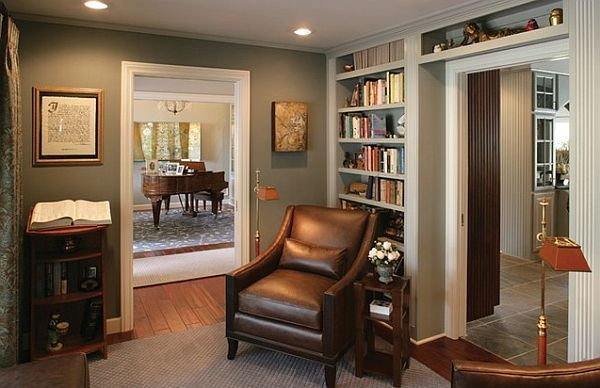 Library View Towards Living Room Through Foyer Traditional Home Office Phoenix Ernesto Garcia Interior Design Llc I Love The Color And The Shelf