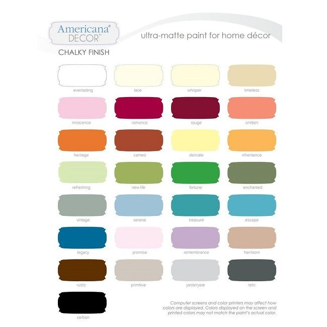 deco art chalk paint - Available colors chart - ships to local HD store for  free