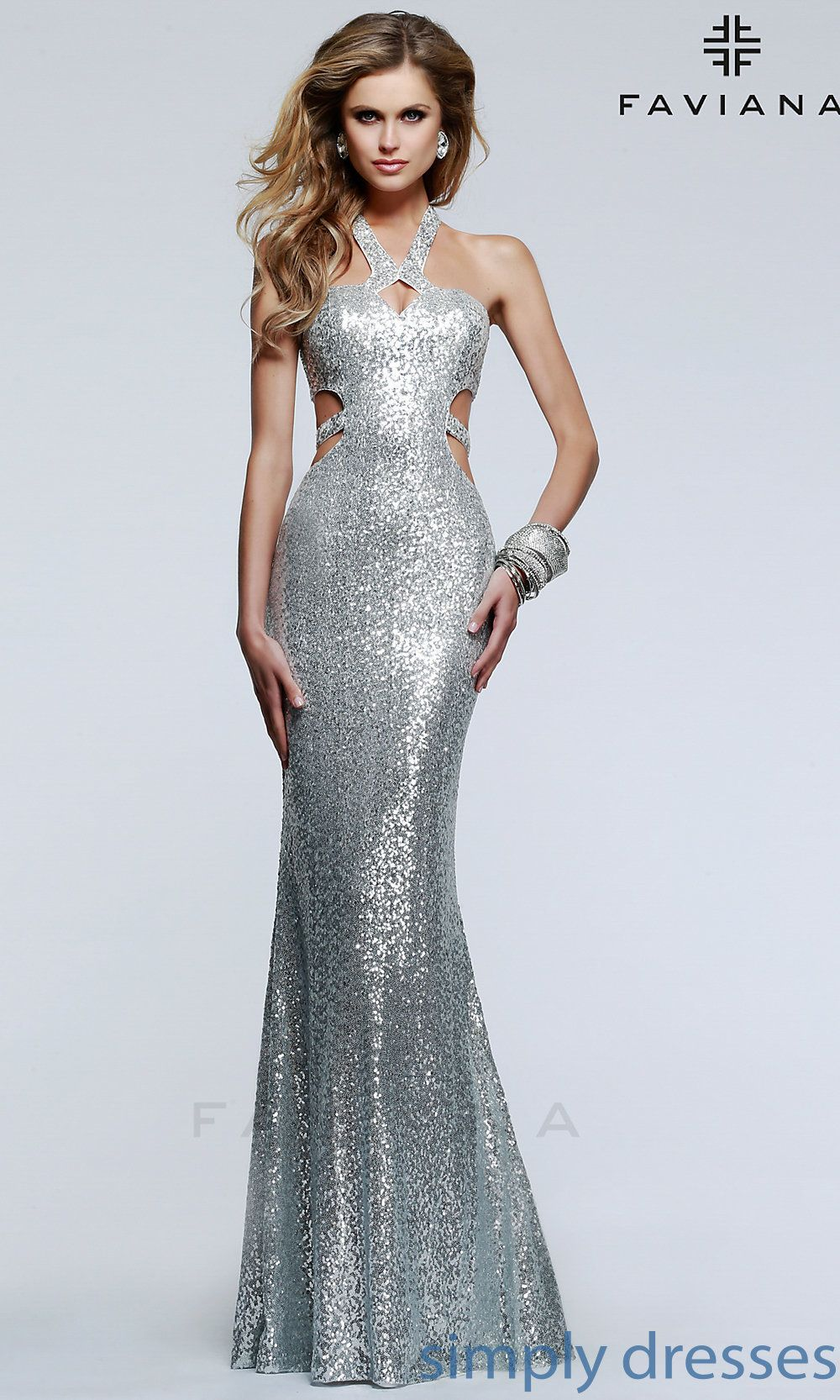 Long Open Back Sequin Formal Gown by Faviana 7509