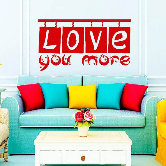 Wall Vinyl Decal Sticker Wall Lettering  Love You by VinylDecals2U