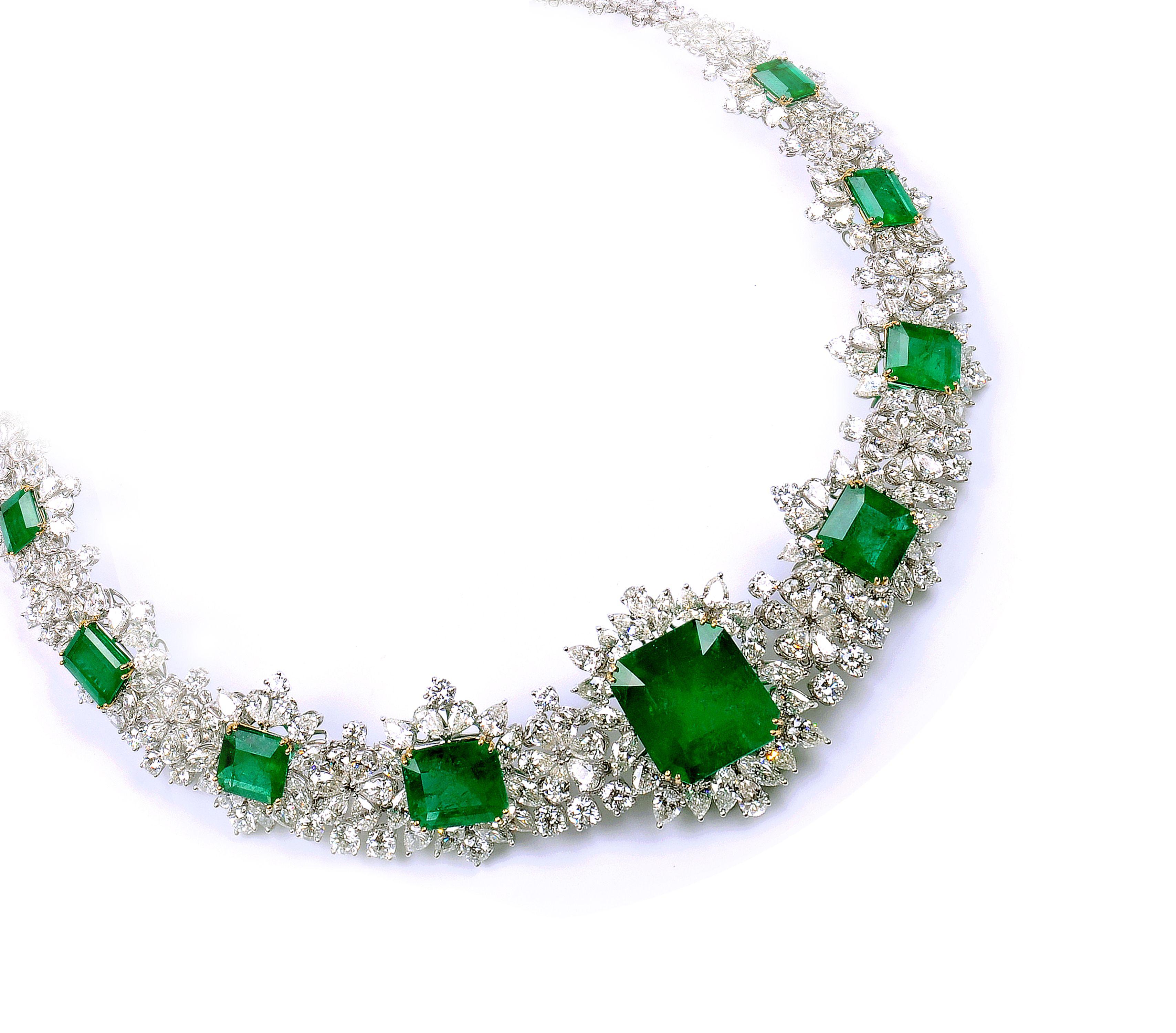 Exotic fashion jewelry -  Emerald Necklace Exotic Diamond