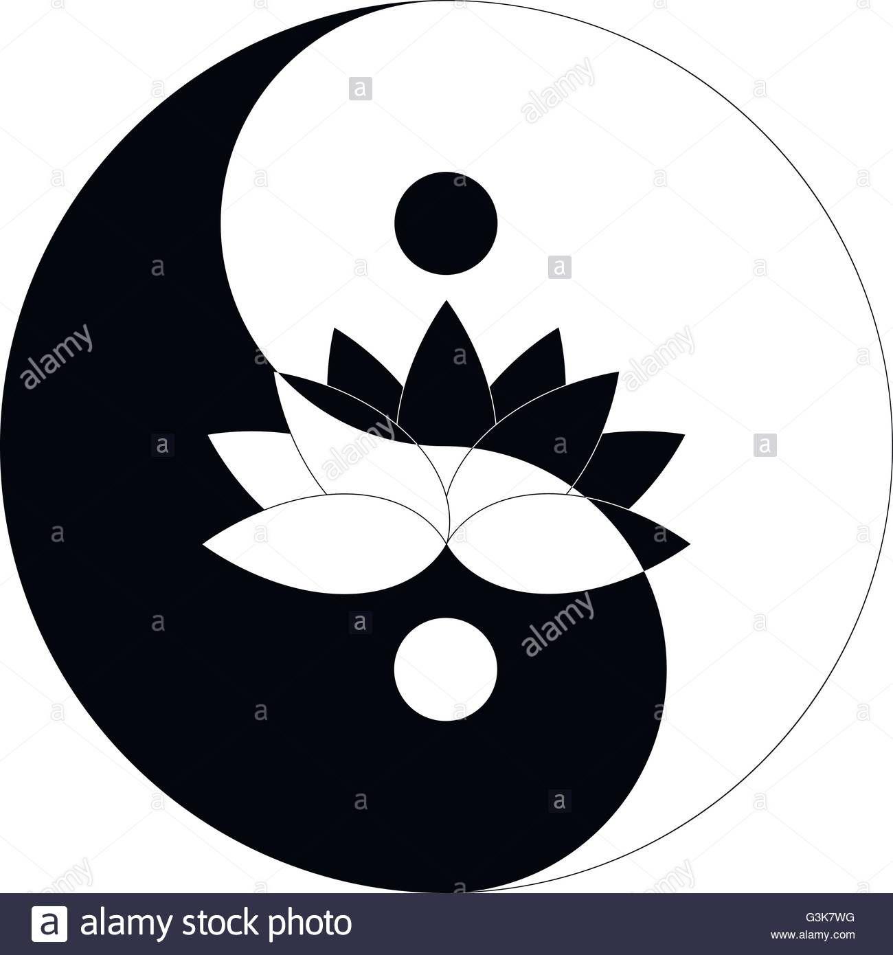 Stock Vector Lotus Flower In Yin Yang Symbol Black And White Download This Stock Vector Lotus Flower In Dibujos Unicos Imagenes De Mandalas Arte De Panda