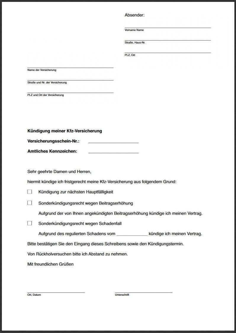 Realistisch Vorlage Kundigungsschreiben Kfz Versicherung Kfz Versicherung Versicherung Private Krankenversicherung
