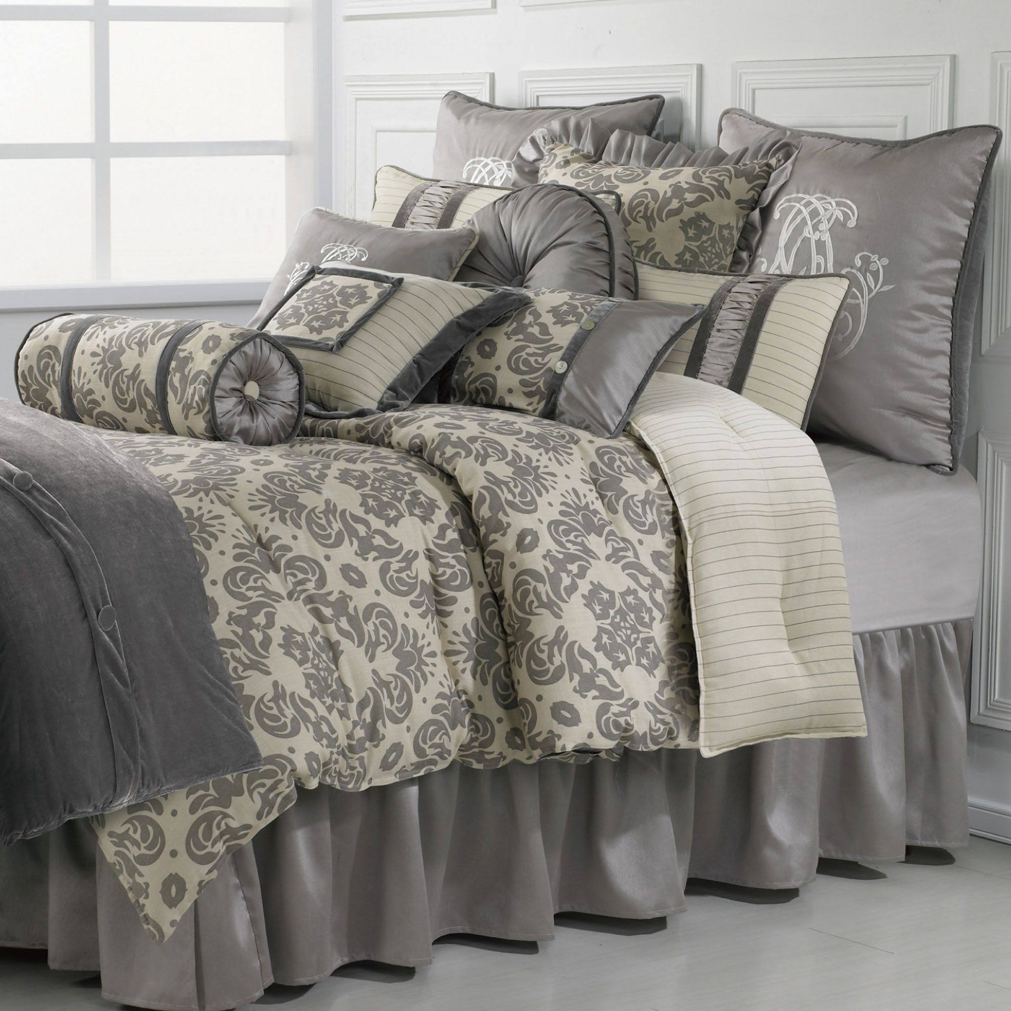 bedding taupe size park bed cal bag amazon set in donovan jacquard soft madison pattern burgundy ultra sets king cream pieces dp a comforter com