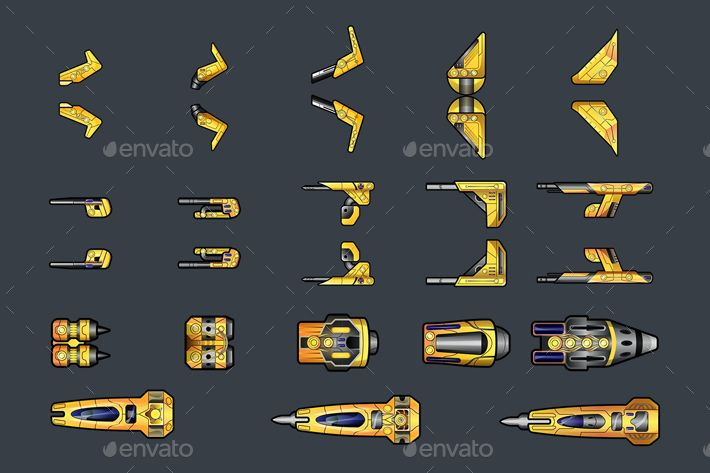Spaceship 2D Sprites | Spaceship, Sprite, Space fighter