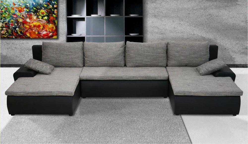 Couchgarnitur U Form Sofa Mit Schlaffunktion Sofagarnitur SYDNEY Wohnlandschaft