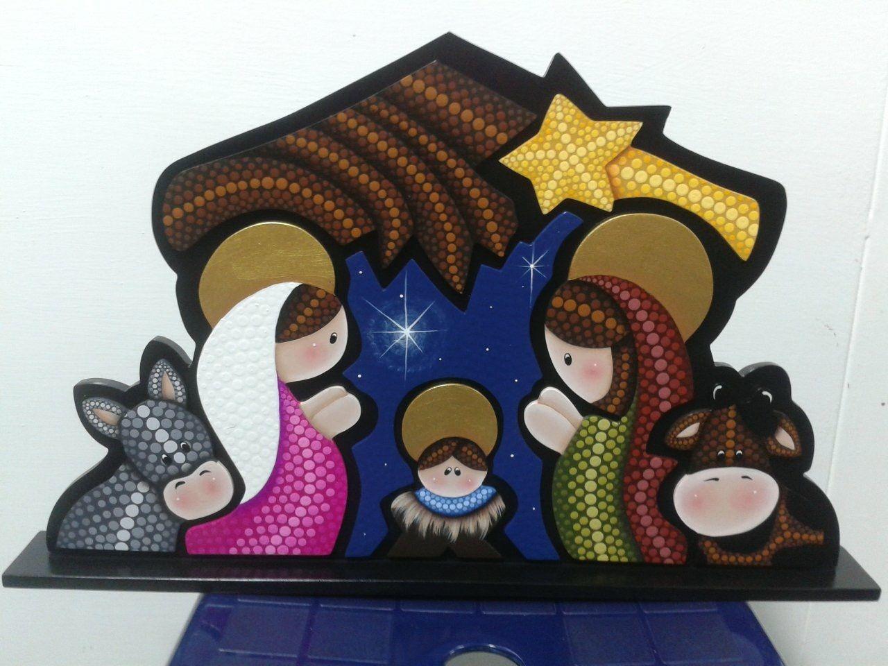 Pesebre en puntillismo pesebres pinterest navidad - Figuras fieltro navidad ...