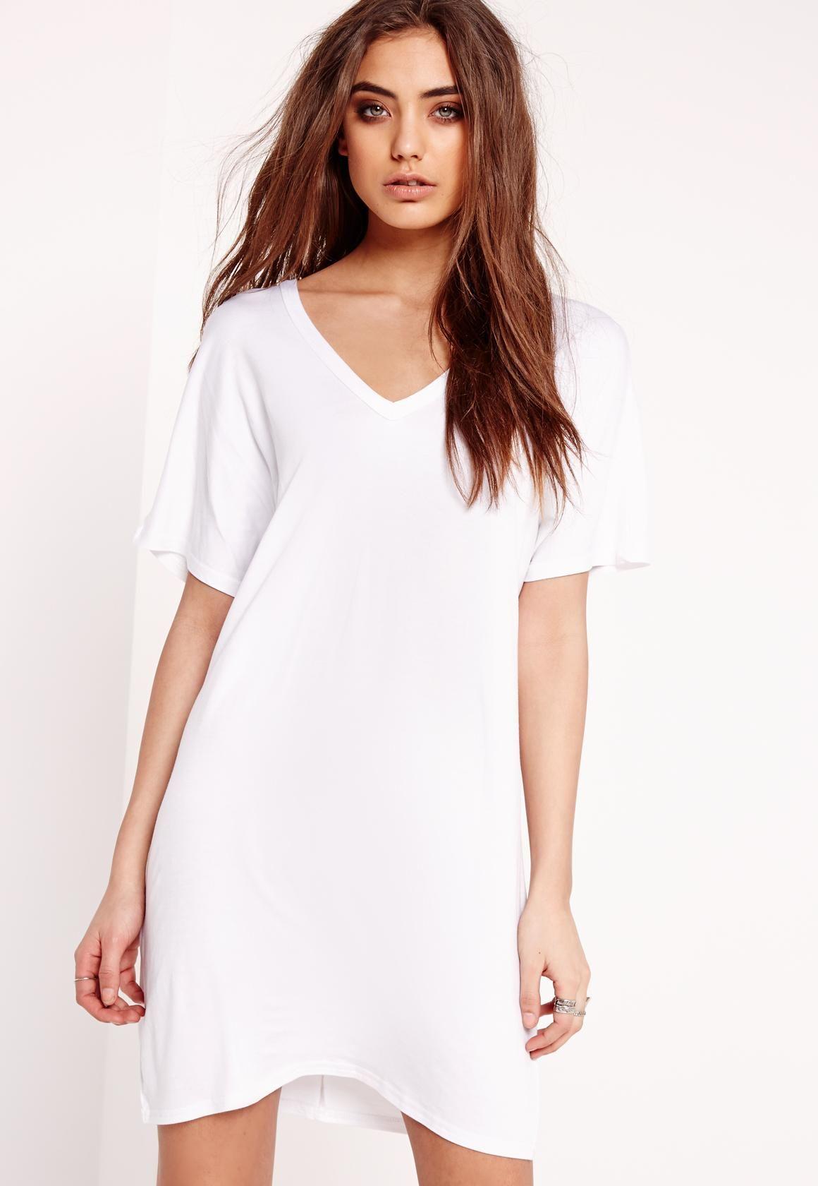 Wide V Neck T Shirt Dress White Impressmode Com White Dresses Uk White Shirt Dress Dress Blog