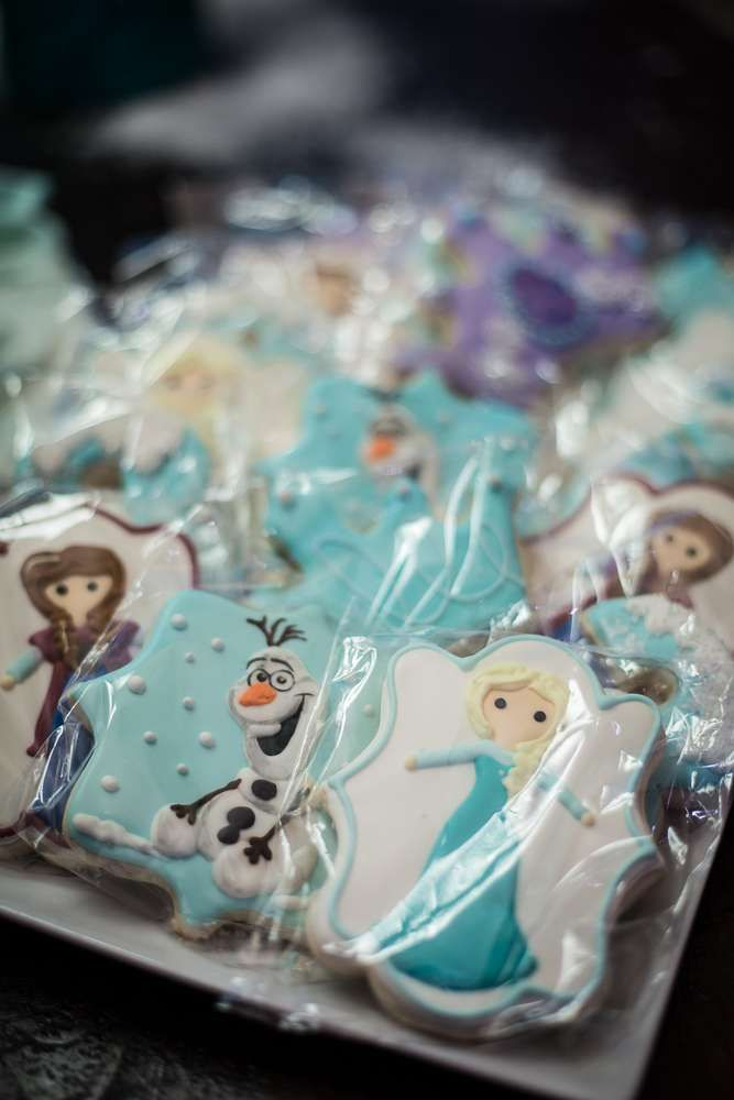 Pretty cookies at a Frozen birthday party! See more party planning ideas at CatchMyParty.com!