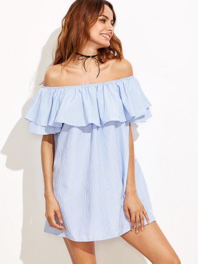 Blue and white stripe off shoulder ruffle blouse 3132adfe4