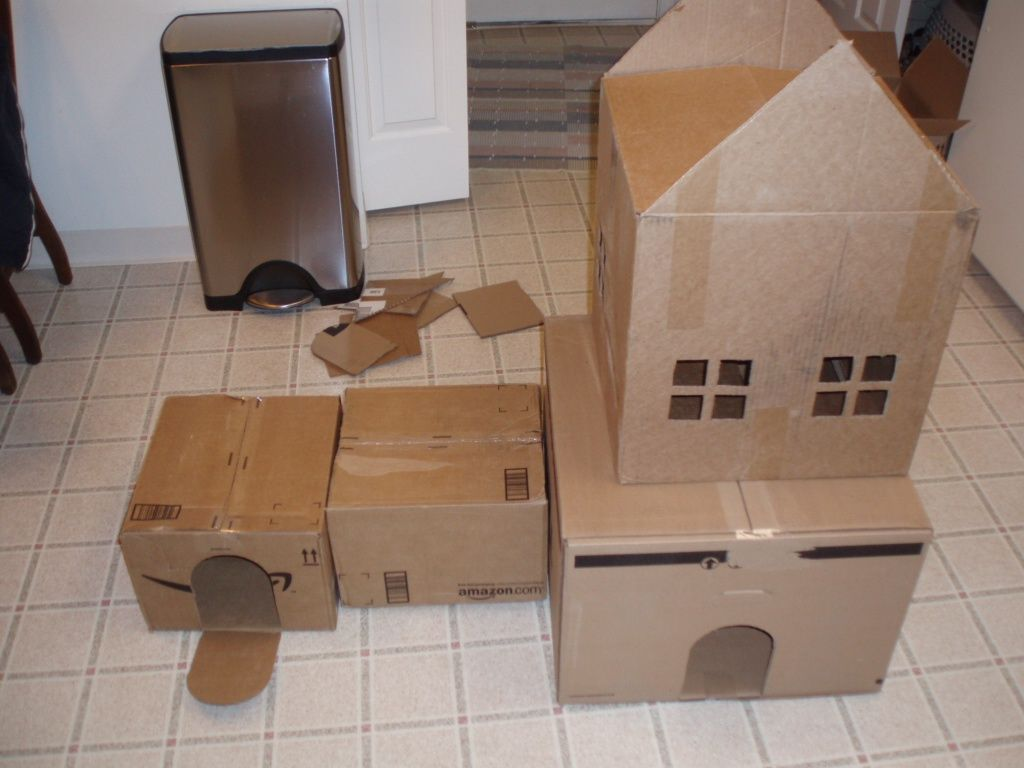 Cardboard House For Cats Cardboard Boxes Connected For Cat Maze Playhouse Picture Image
