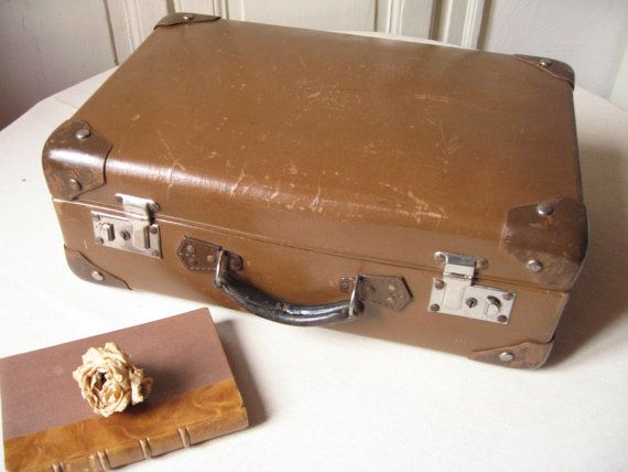 Old brown cardboard suitcase luggage vintage handle leather corners str - Valise carton vintage ...