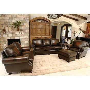 Superb Ellis 4 Piece Top Grain Leather Living Room Set Home Interior And Landscaping Mentranervesignezvosmurscom