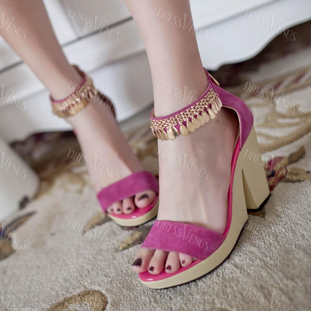 Shoes zone sandals - Beautiful Rose Leather Metal Tassel Open Toes Chunky Heels Sandals Shoes Zone