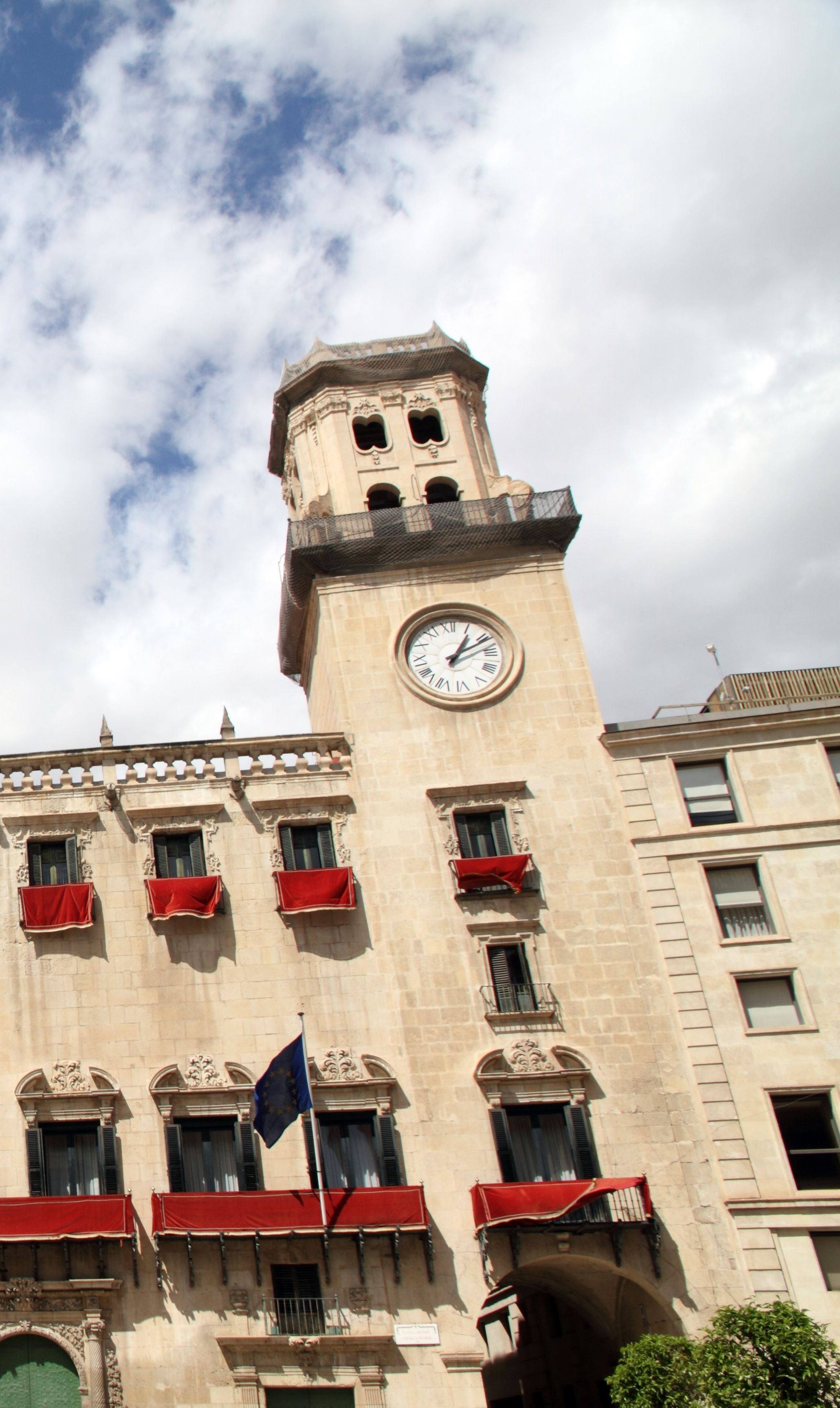 Clock tower of city hall in Alicante, Spain