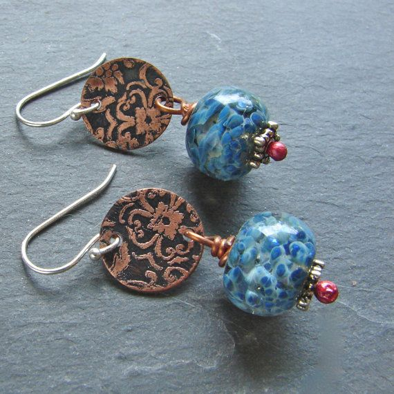Etched Copper and Handmade Glass Earrings by ForMySweetDaughter