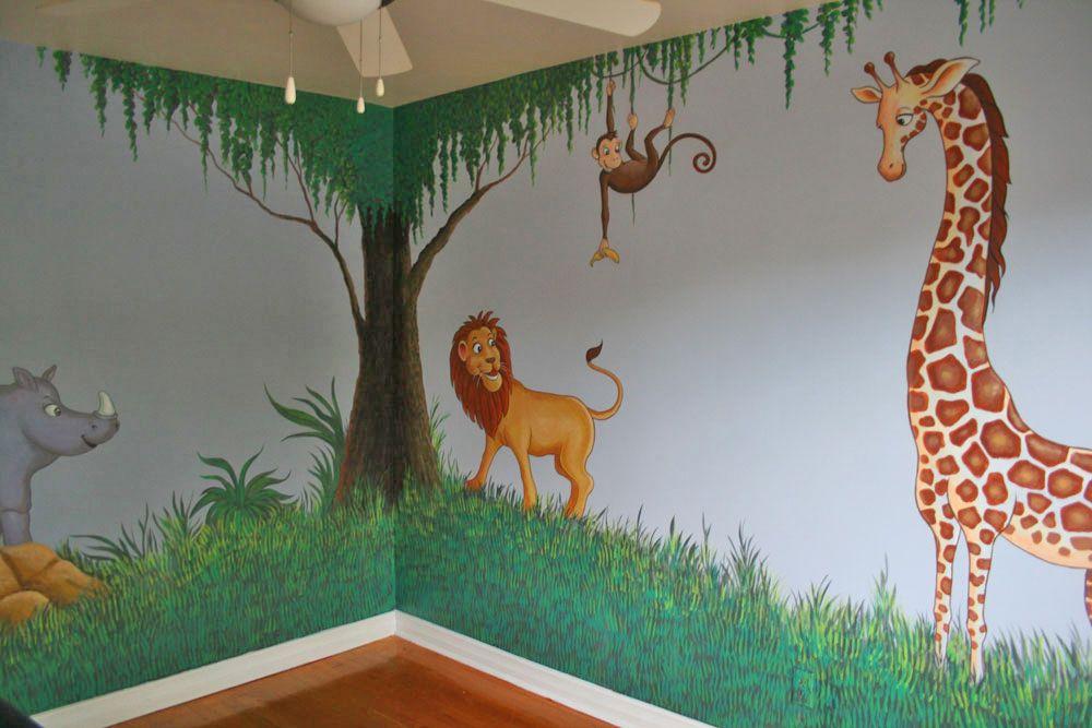 Jungle Tree Nursery Kids Murals With Lion Giraffe And Monkey