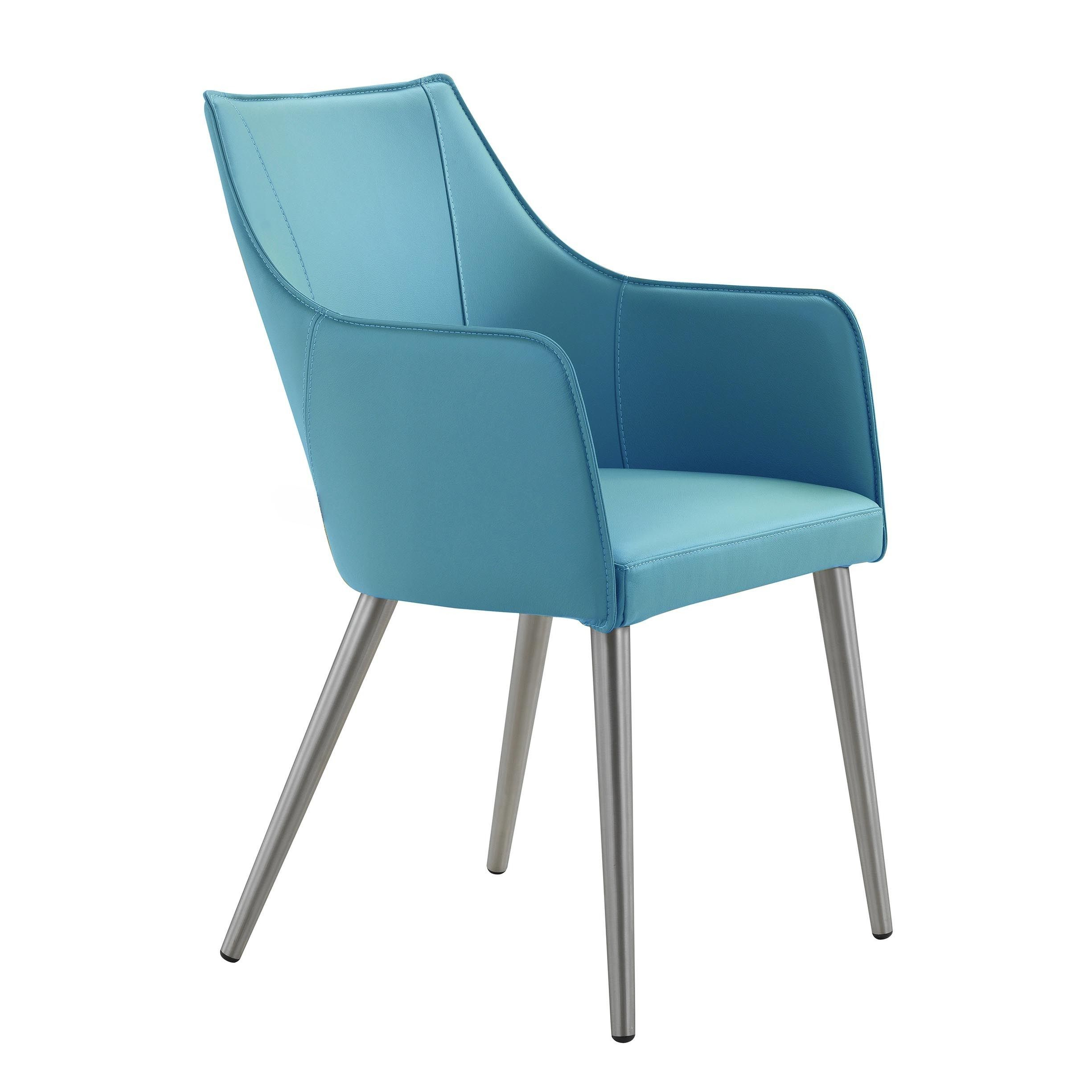 modern leather dining chairs with arms directors chair canvas replacement covers aurelle home blue stainless steel