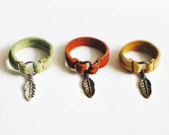 Photo of Leather Feather Charm Ring – Choose Your Color