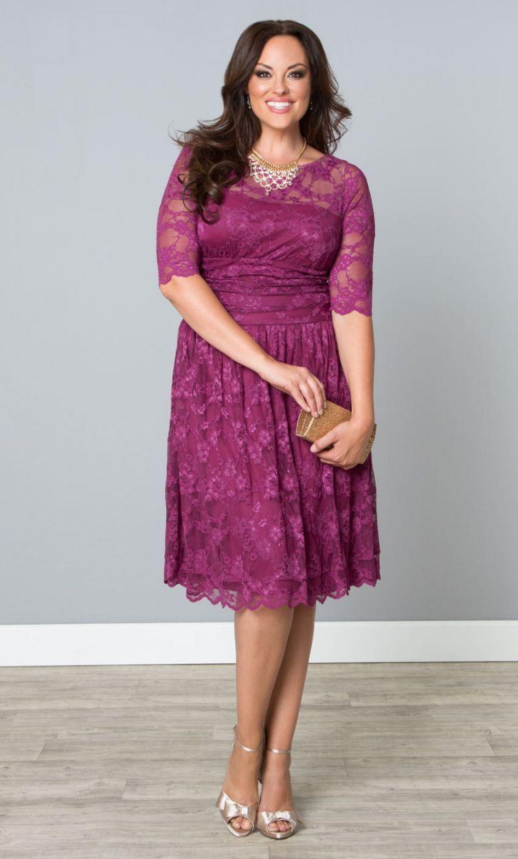Plus Size Luna Lace Dress Raspberry Glaze at Curvalicious Clothes ...