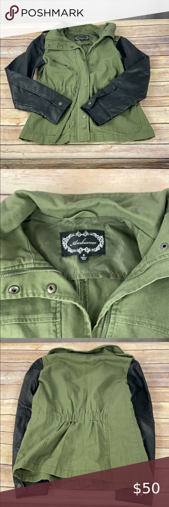 S Utility Jacket W Leather Look Sleeves In 2021 Jackets Utility Jacket Clothes Design [ 1740 x 580 Pixel ]