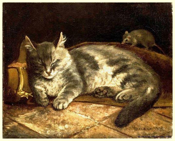 Adolf Von Becker Finnish 1831 1909 Cat Art Cats Grey Cats