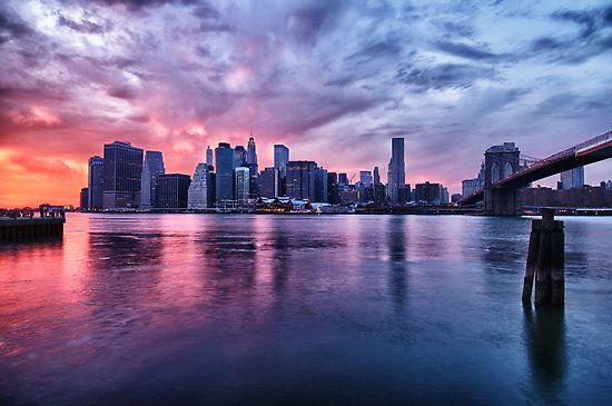 NYC Skyline at sunset by Flux Photography. (ps: follow for more nyc quality pics) #newyork