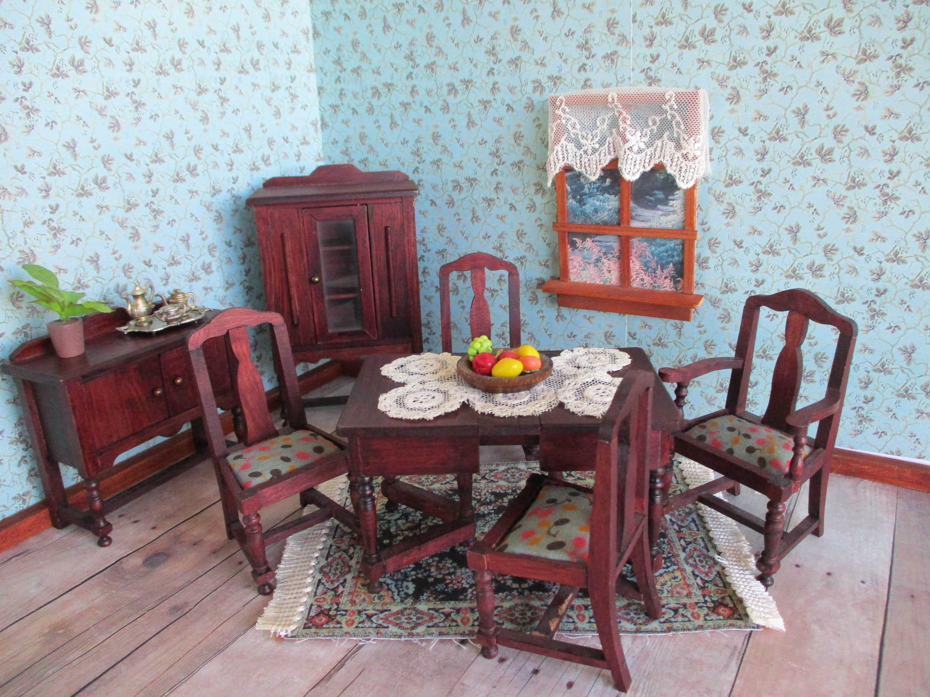 Vintage German Red Stain Dollhouse Furniture 7 Piece Dining Room