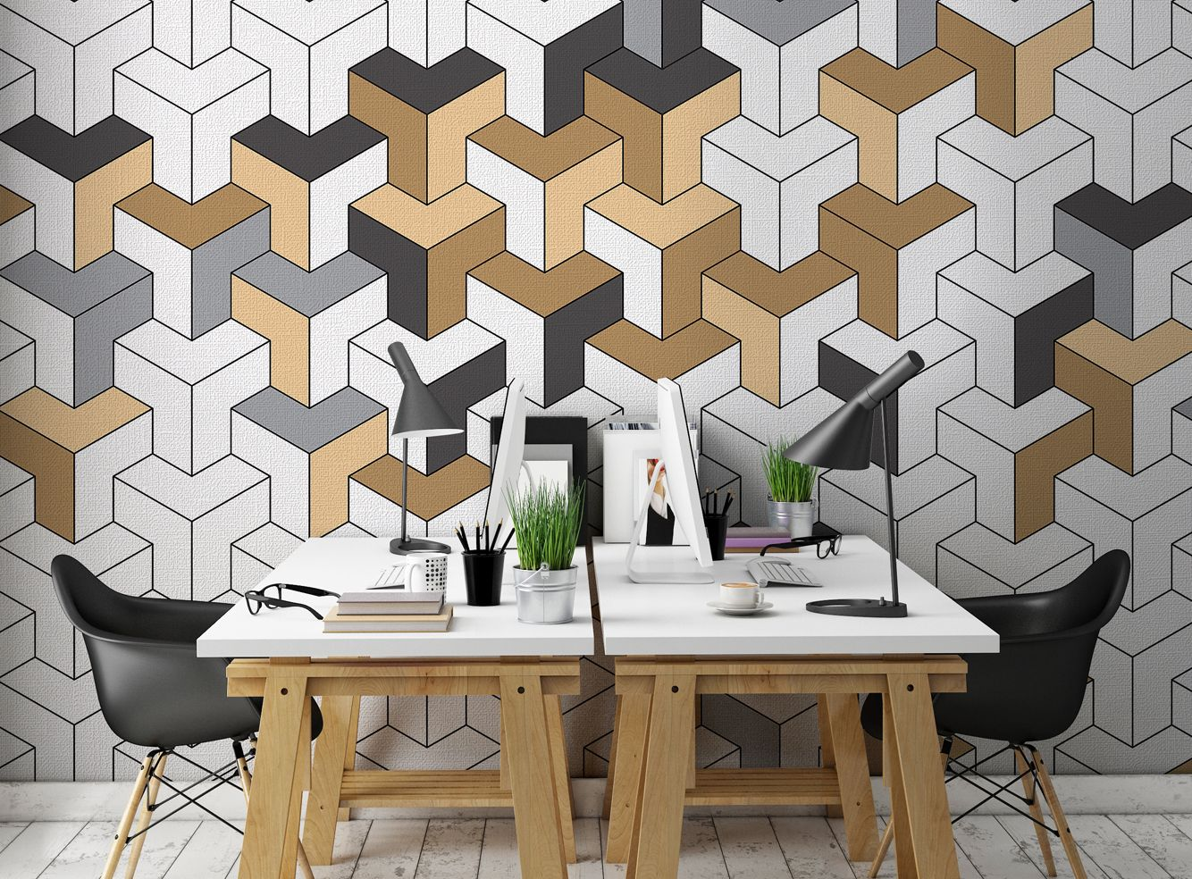Geometric Wallpaper Textured Vinyl Wallpaper on non