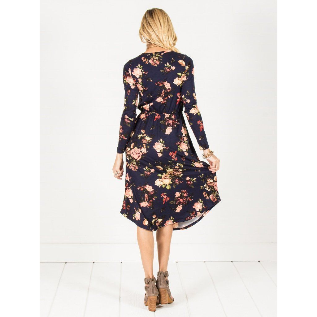 Long sleeve floral midi dress burgundy products