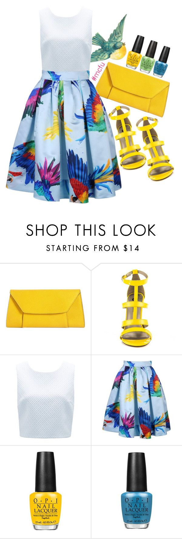 """""""A Little Birdie"""" by mindless-christabel ❤ liked on Polyvore featuring Valextra, Freebird, Michael Antonio, Forever New, Daizy Shely and OPI"""