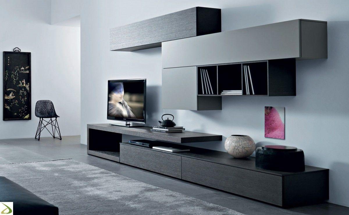 Mobile soggiorno moderno con basi e pensili con apertura push pull  Idee per la casa ...